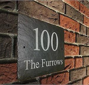 Various Sizes ~ Large & Small Engraved Slate House Sign. Names and Numbers.