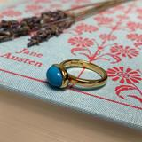 Jane Austen's Ring Replica in Turquoise and Gold-Plated Silver