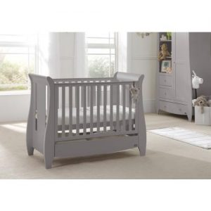 TUTTI BAMBINI KATIE SPACE SAVER SLEIGH COT BED WITH UNDER BED DRAWER (COOL GREY) - 211139/93