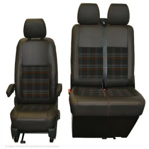 INKA Tailored VW Transporter T6.1, T6 & T5.1 Front Seat Covers Black Matt Leatherette With Coloured GTi Tartan Centres [Choice Of 7 Colours] 1 review